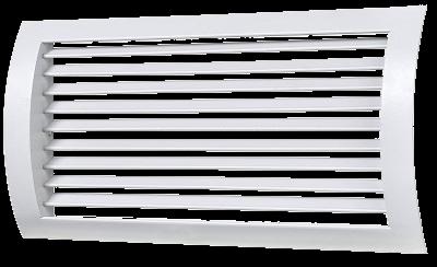 Полукруглая решетка алюминиевая однорядная регулируемая РС